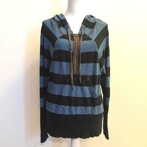 Free People Blue Striped 1/2 Zip Hooded Sweatshirt
